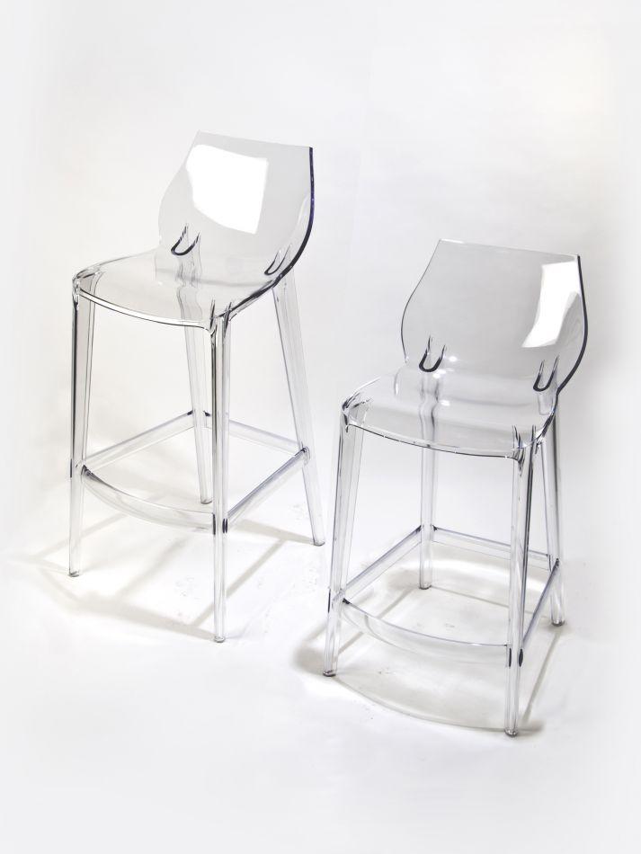 Tabouret de bar transparent polycarbonate mahi mahi neutral h 76 - Tabouret de bar polycarbonate ...