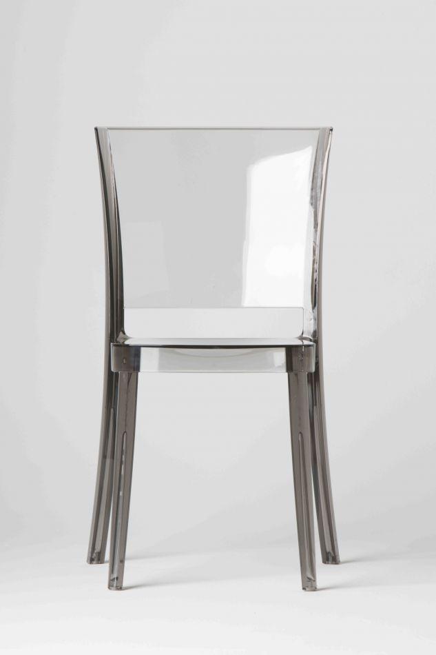 chaise transparente polycarbonate lucienne fum. Black Bedroom Furniture Sets. Home Design Ideas