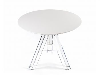 ROUND-TOPPED TRANSPARENT POLYCARBONATE DESIGN TABLE OMETTO - WHITE TOP -  Diameter 90