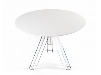 TABLE RONDE TRANSPARENTE POLYCARBONATE DESIGN OMETTO - PLATEAU BLANC - DIAMÈTRE 100