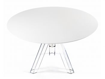 ROUND-TOPPED TRANSPARENT POLYCARBONATE DESIGN TABLE OMETTO  - WHITE TOP -  Diameter 120