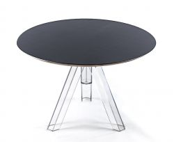 TABLE RONDE TRANSPARENTE POLYCARBONATE DESIGN OMETTO - PLATEAU NOIR - DIAMÈTRE 107