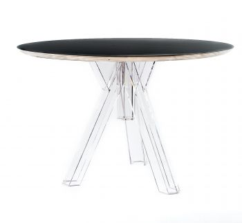 ROUND-TOPPED TRANSPARENT POLYCARBONATE DESIGN TABLE OMETTO  - BLACK TOP -  DIAMETER 120