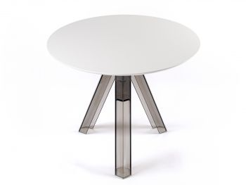 TABLE RONDE TRANSPARENTE POLYCARBONATE DESIGN FUMÉ OMETTO - PLATEAU BLANC - DIAMÈTRE 90