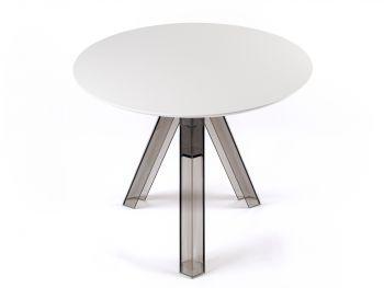 Tavolo rotondo trasparente policarbonato design fumè OMETTO - piano Bianco - Diametro 90