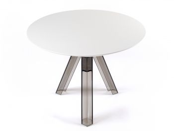 ROUND-TOPPED TRANSPARENT POLYCARBONATE DESIGN TABLE OMETTO - SMOKED - WHITE TOP -  Diameter 100