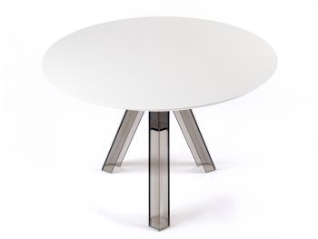 ROUND-TOPPED TRANSPARENT POLYCARBONATE DESIGN TABLE OMETTO - SMOKED  - WHITE TOP -  DIAMETER 105