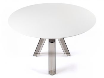 ROUND-TOPPED TRANSPARENT POLYCARBONATE DESIGN TABLE OMETTO - SMOKED - WHITE TOP -  DIAMETER 120