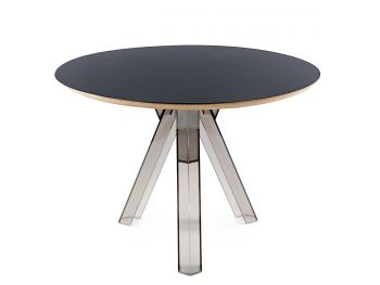 TABLE RONDE TRANSPARENTE POLYCARBONATE DESIGN FUMÉ OMETTO - PLATEAU NOIR - DIAMÈTRE 107