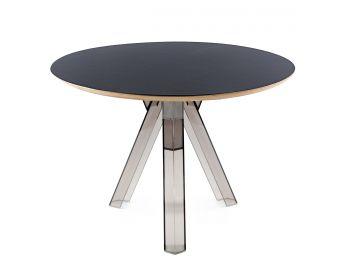 Tavolo rotondo trasparente policarbonato design fumè OMETTO - piano Nero - Diametro 107