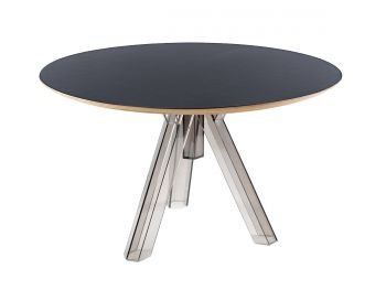 TABLE RONDE TRANSPARENTE POLYCARBONATE DESIGN FUMÉ OMETTO - PLATEAU NOIR - DIAMÈTRE 120