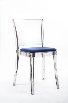 "TRANSPARENT CHAIR POLYCARBONATE WITH PILLOW LUCIENNE - ULTRAMARINE ""BICOLOR"""