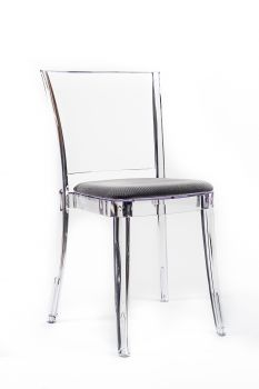 """TRANSPARENT CHAIR POLYCARBONATE WITH PILLOW LUCIENNE - BROWN GRAY """"TRICOLOR"""""""