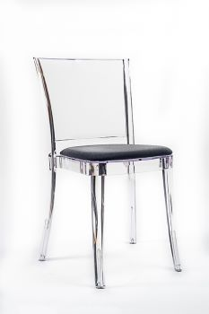 """TRANSPARENT CHAIR POLYCARBONATE WITH PILLOW LUCIENNE - SLATE GRAY """"BICOLOR"""""""