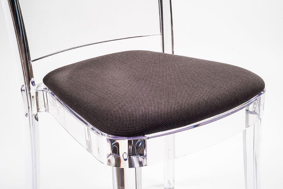 Sedia trasparente policarbonato con cuscino lucienne marrone terra
