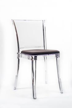 """TRANSPARENT CHAIR POLYCARBONATE WITH PILLOW LUCIENNE - GROUND BROWN """"BICOLOR"""""""