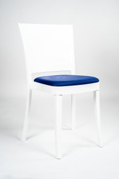 """CHAIR POLYCARBONATE PURE WHITE WITH PILLOW LUCIENNE - ULTRAMARINE """"BICOLOR"""""""