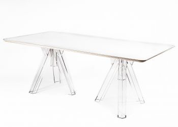 Transparent Table 200x100 Design Polycarbonate OMETTO - White Top - Rectangular
