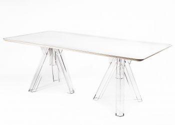 Transparentny stół 200x100 Design z Poliwęglanu OMETTO - Biały Top - Prostokątny