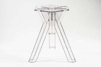 Transparent Polycarbonate Design Table Base Ometto - for 105/107 cm diam. tops