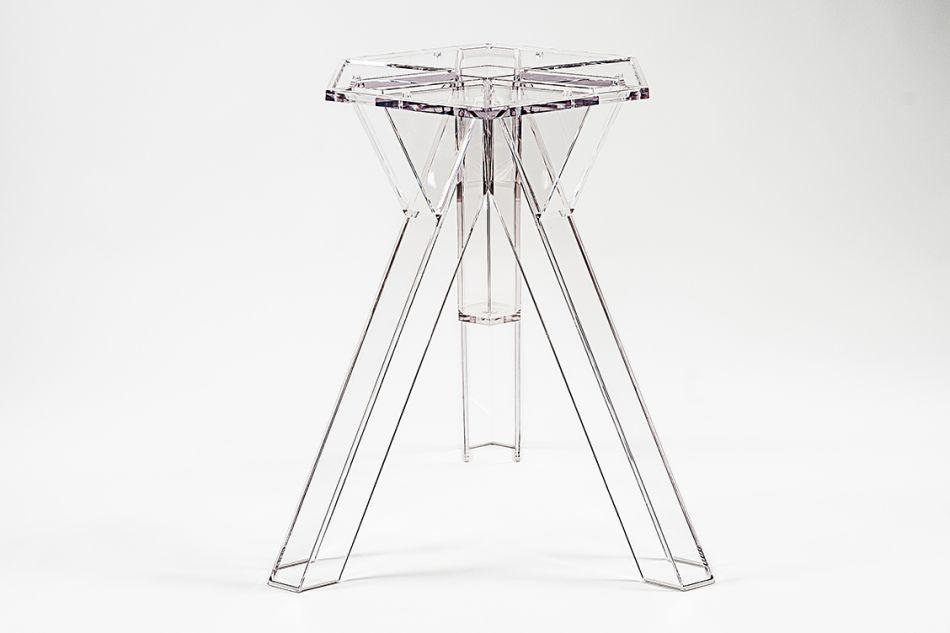 Ometto.Transparent Polycarbonate Design Table Base Ometto For 120 Cm Diam Tops