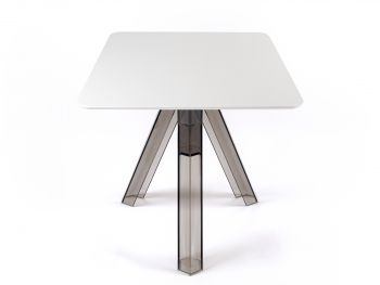 Square Transparent Polycarbonate Design Table Smoked Ometto - White Top -  cm. 80x80