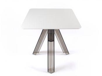 Table Carrée Transparente Polycarbonate Design Fumé Ometto - Plateau Blanc - cm. 80x80