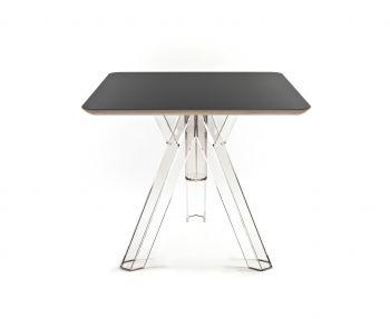 Tavolo Quadrato Trasparente Policarbonato Design Ometto - Piano Nero - cm. 80x80