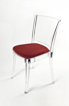 """TRANSPARENT CHAIR POLYCARBONATE WITH PILLOW LUCIENNE - RED """"TRICOLOR"""""""