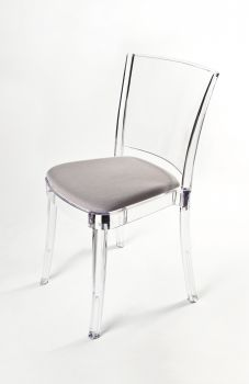 "TRANSPARENT CHAIR POLYCARBONATE WITH PILLOW LUCIENNE - SAND COLOR ""TRICOLOR"""