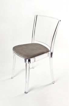 Transparent chair polycarbonate with pillow LUCIENNE - CLOUDY DOVE COLOR