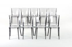 Transparent conference chair Lucienne with hook - Fumè