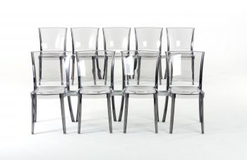 Lucienne transparent conference chair - Fumè + - 18 chairs pallet + 17 hooks