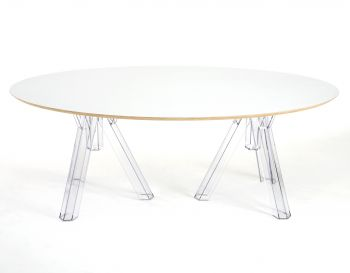 OVAL-TOPPED TRANSPARENT DESIGN POLYCARBONATE TABLE OMETTO  - WHITE TOP -  cm 200x115