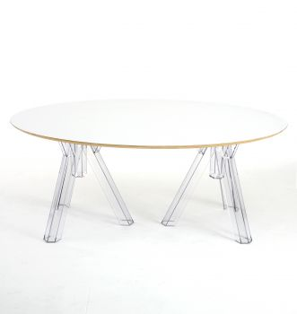 OVAL-TOPPED TRANSPARENT DESIGN POLYCARBONATE TABLE OMETTO  - WHITE TOP -  cm 180x115
