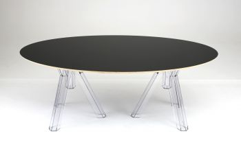 TABLE OVALE TRANSPARENTE DESIGN POLYCARBONATE OMETTO - PLATEAU NOIR - cm 200x115