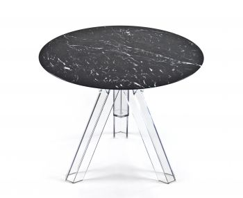 MARBLE TABLE Ø 90 MARQUINA BLACK ROUND OMETTO - TRANSPARENT BASE