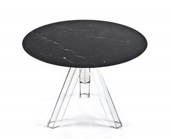 MARBLE TABLE Ø 100 MARQUINA BLACK ROUND OMETTO - TRANSPARENT BASE