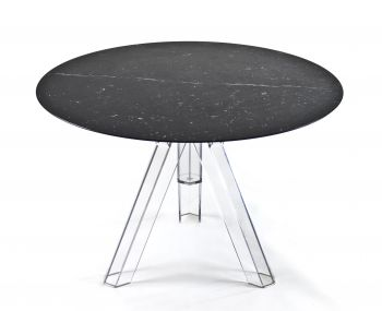 MARBLE TABLE Ø 107 MARQUINA BLACK ROUND OMETTO - TRANSPARENT BASE