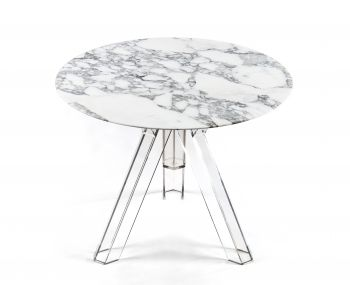 MARBLE TABLE Ø 90 ARABESCATO ROUND OMETTO - TRANSPARENT BASE