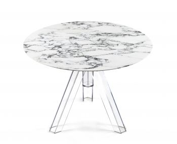 MARBLE TABLE ARABESCED ROUND  Ø 100 OMETTO - TRANSPARENT BASE