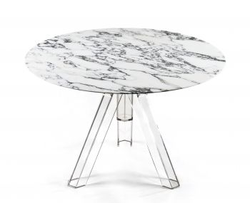 MARBLE TABLE ARABESCED ROUND  Ø 120 OMETTO - TRANSPARENT BASE
