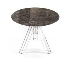 MARBLE TABLE Ø 90 ROUND EMPERADOR OMETTO - TRANSPARENT BASE