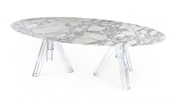 MARBLE TABLE ARABESCATO OVAL 230x115 OMETTO - TRANSPARENT BASE
