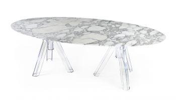 Table Ovale Marbre Blanc ARABESCATO - 230x115 - OMETTO
