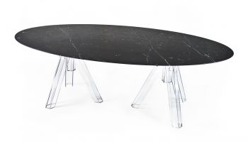 MARBLE BLACK MARQUINA OVAL TABLE 230x115 OMETTO - TRANSPARENT BASE