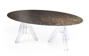 MARBLE TABLE EMPERADOR OVAL 200x115 OMETTO - TRANSPARENT BASE