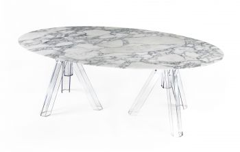 MARMOR ARABESCATO OVAL TABLE 200x115 OMETTO - TRANSPARENT BASIS