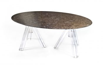 MARBLE TABLE EMPERADOR OVAL 180x115 OMETTO - TRANSPARENT BASE