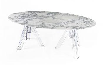Table Ovale Marbre Blanc ARABESCATO - 180x115 - OMETTO